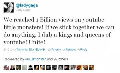 Леди Гага получила миллиард просмотров видео на Youtube