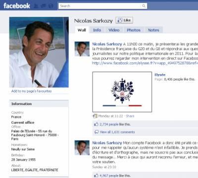 Хакеры взломали страницу президента Франции на Facebook