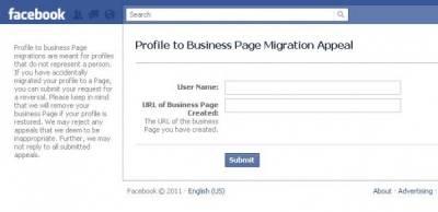 Как отменить конвертацию Facebook-профиля в страницу