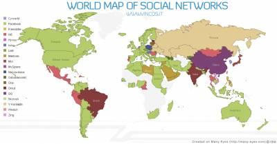 Социальные сети мира на карте