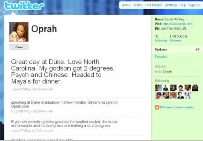 Опра стала миллионером на Твитере за 28 дней