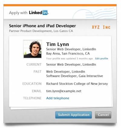 LinkedIn запустил кнопку для отправки резюме