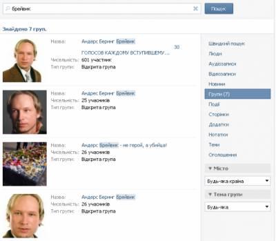 На Вконтакте появились группы, посвященные норвежскому террористу