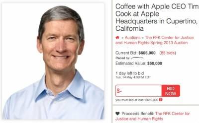 За «свидание» с главой корпорации Apple предлагают уже 605 000 долларов