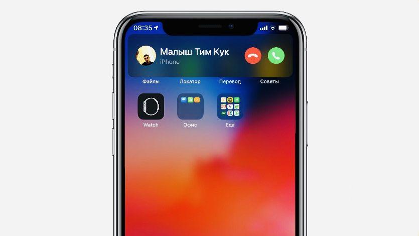 Интерфейс входящего звонка